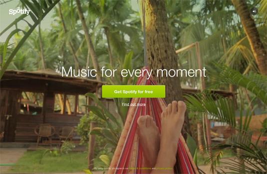 Spotify - strona prezentuje film w tle